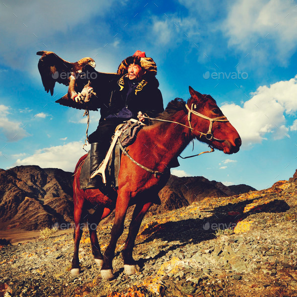 Mongolian Man Trained Eagle Kazakh Olgei Western Concept - Stock Photo - Images