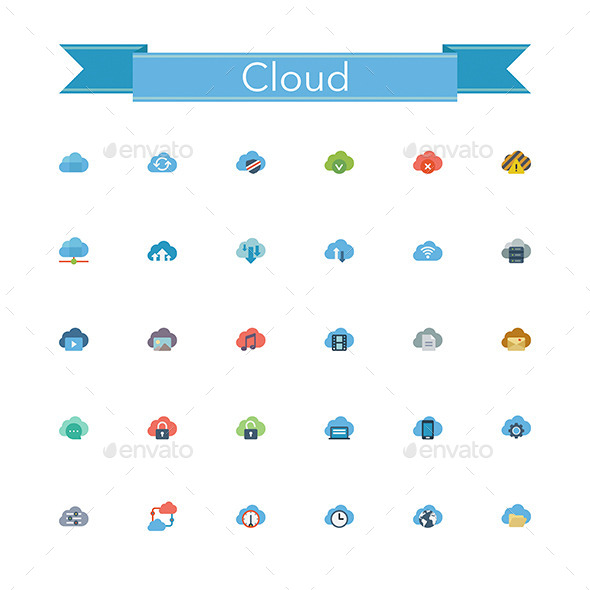 Cloud Flat Icons - Technology Icons
