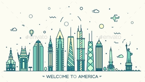 United States America Skyline Vector Linear Style - Buildings Objects