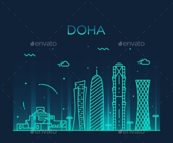 Doha Skyline Silhouette Illustration Linear Style - Buildings Objects