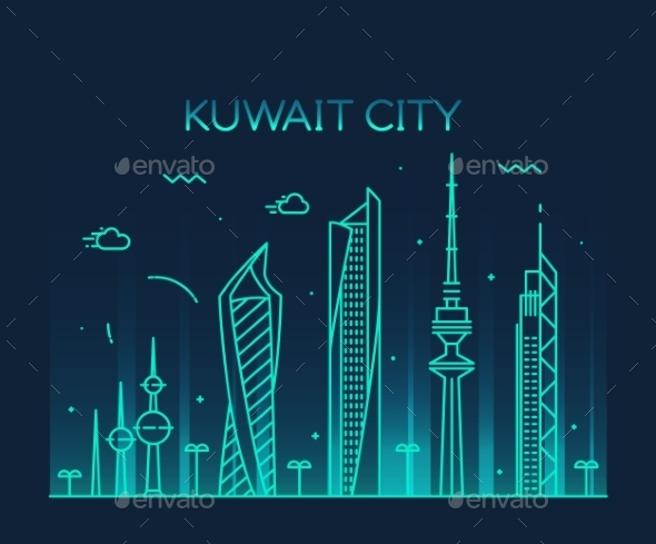 Kuwait City Skyline Silhouette Vector Linear Style - Landscapes Nature