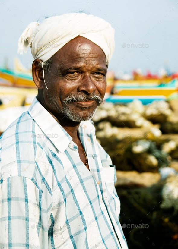 Indian Fisherman Kerela India Poverty Lifestyle Concept - Stock Photo - Images