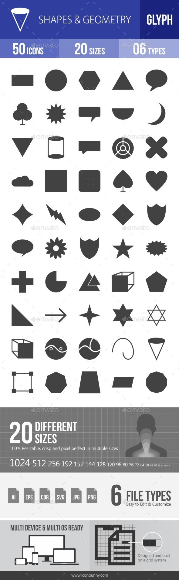 Shapes & Geometry Glyph Icons - Icons