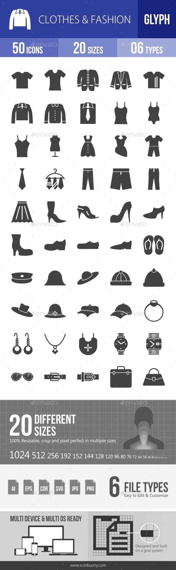 Clothes & Fashion Glyph Icons - Icons