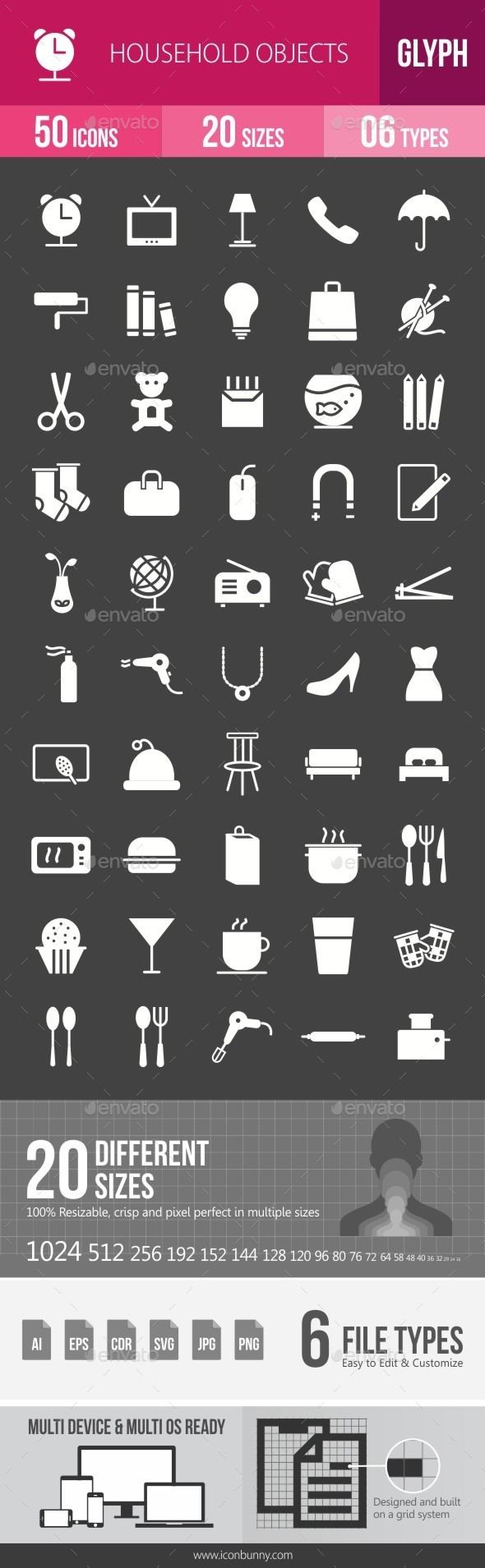 Household Objects Glyph Inverted Icons - Icons