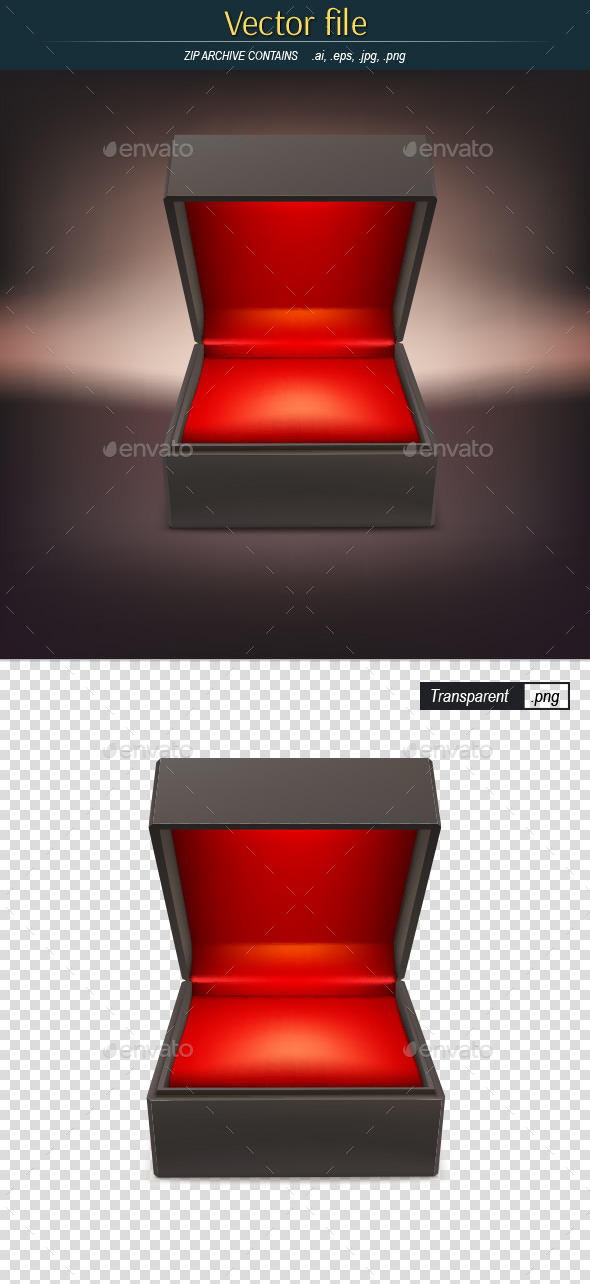Jewelry Box on Dark Background Editable Vector - Man-made Objects Objects