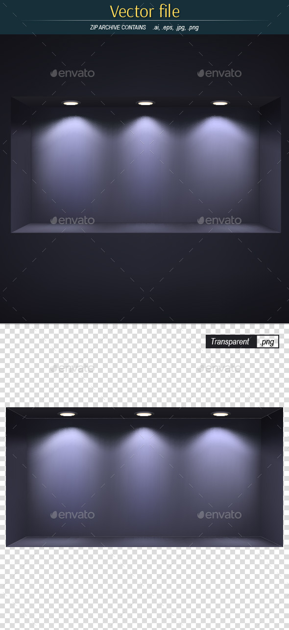 Niche with Three Lights Editable Vector - Backgrounds Decorative