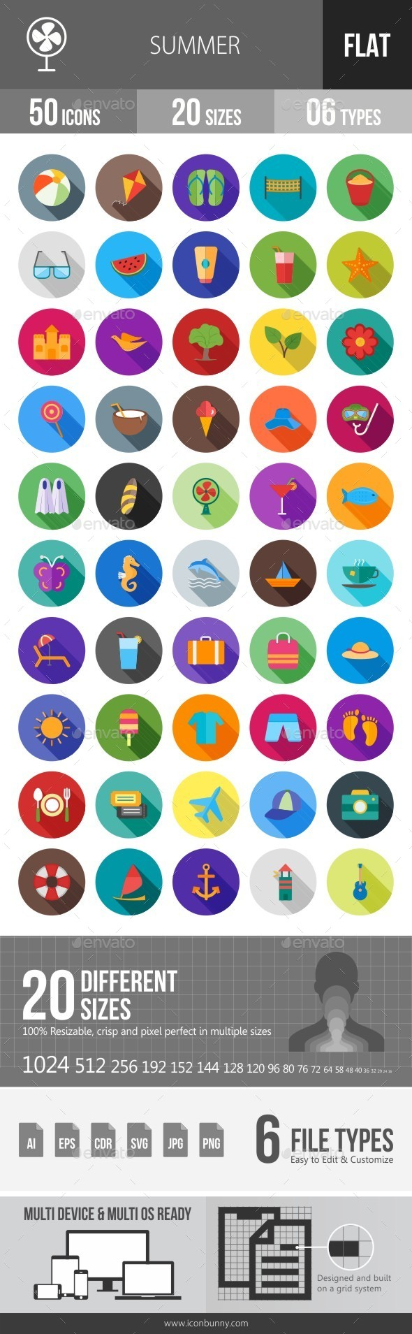 Summer Flat Shadowed Icons - Icons