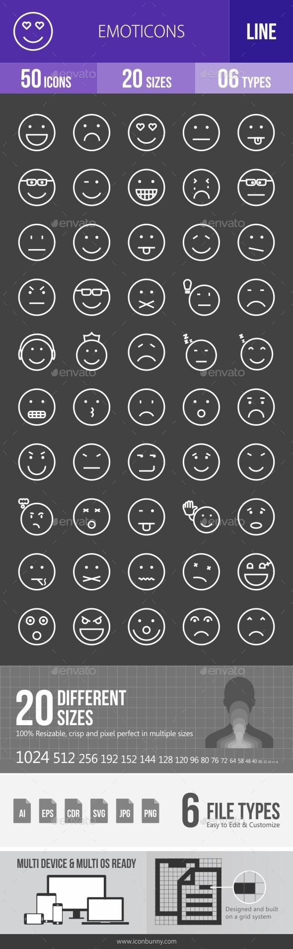 Emoticons Line Inverted Icons - Icons