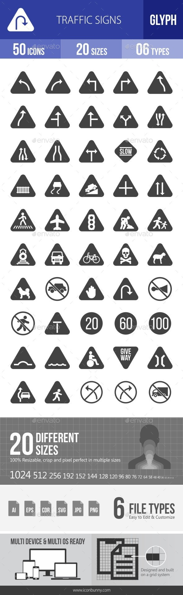 Traffic Signs Glyph Icons - Icons