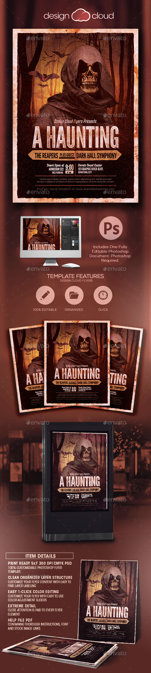 A Haunting Halloween Party Flyer Template - Holidays Events
