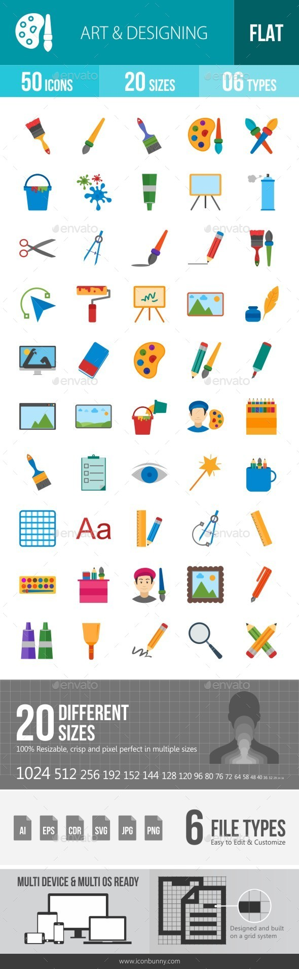 Art & Designing Flat Multicolor Icons - Icons