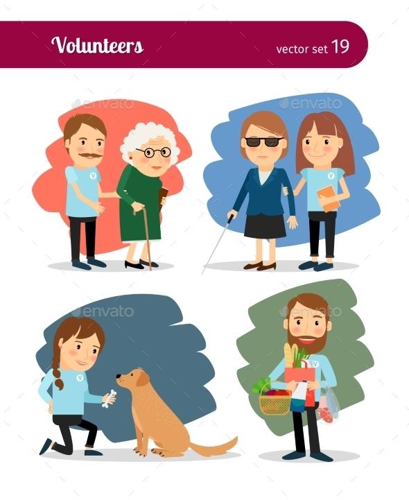 Volunteers Care - People Characters