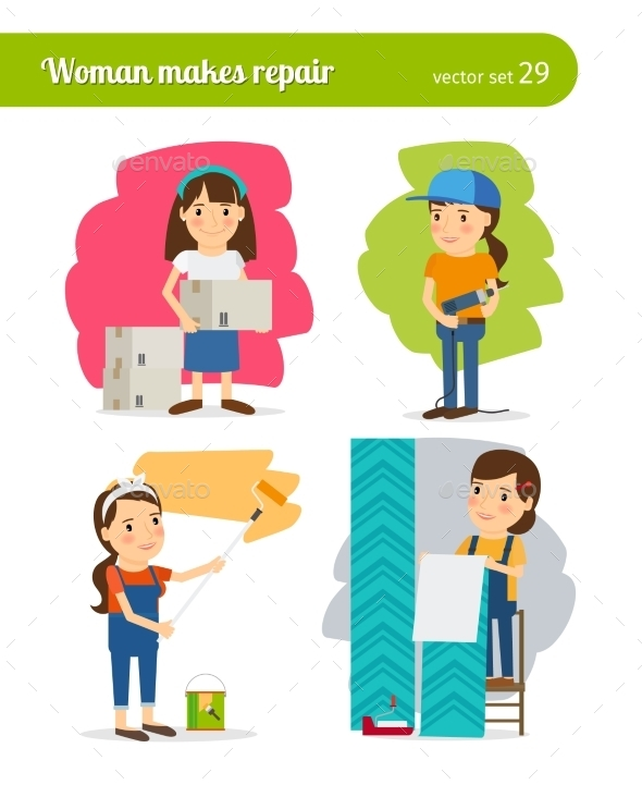 Woman Making Repairs - People Characters