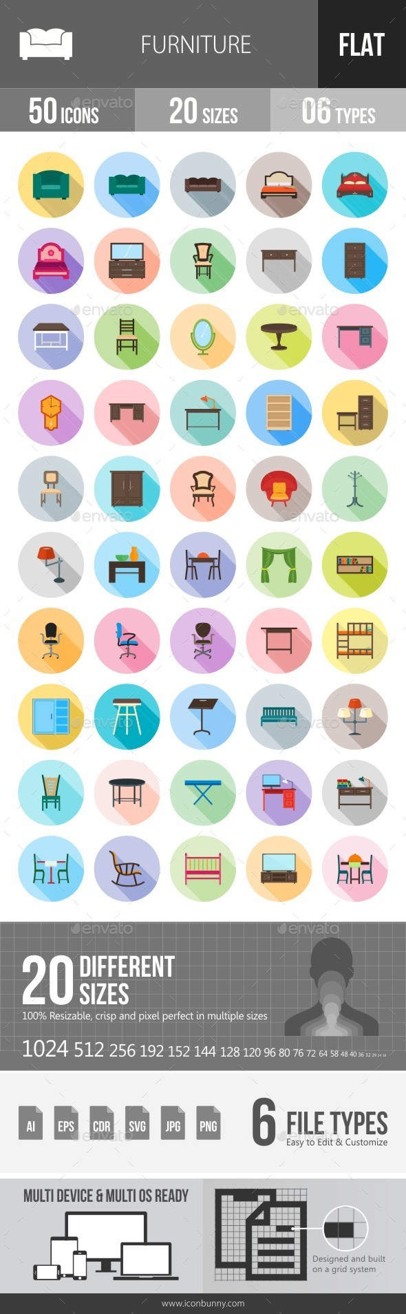 Furniture Flat Shadowed Icons - Icons