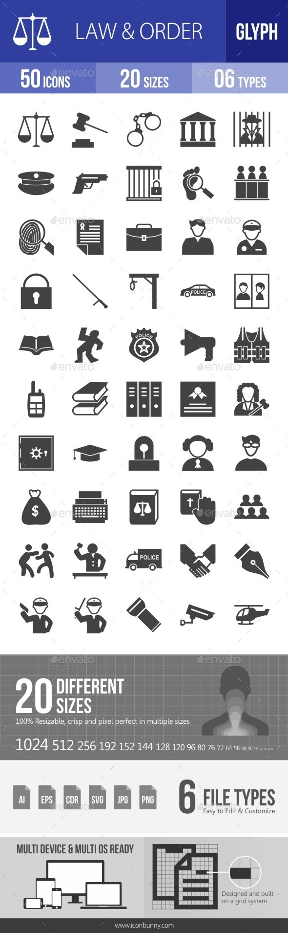 Law & Order Glyph Icons - Icons