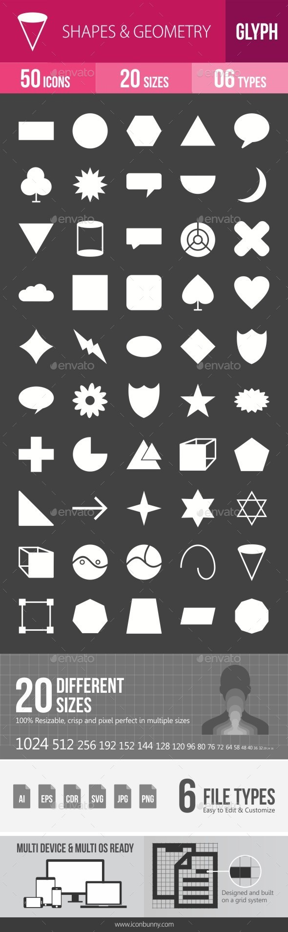 Shapes & Geometry Glyph Inverted Icons - Icons