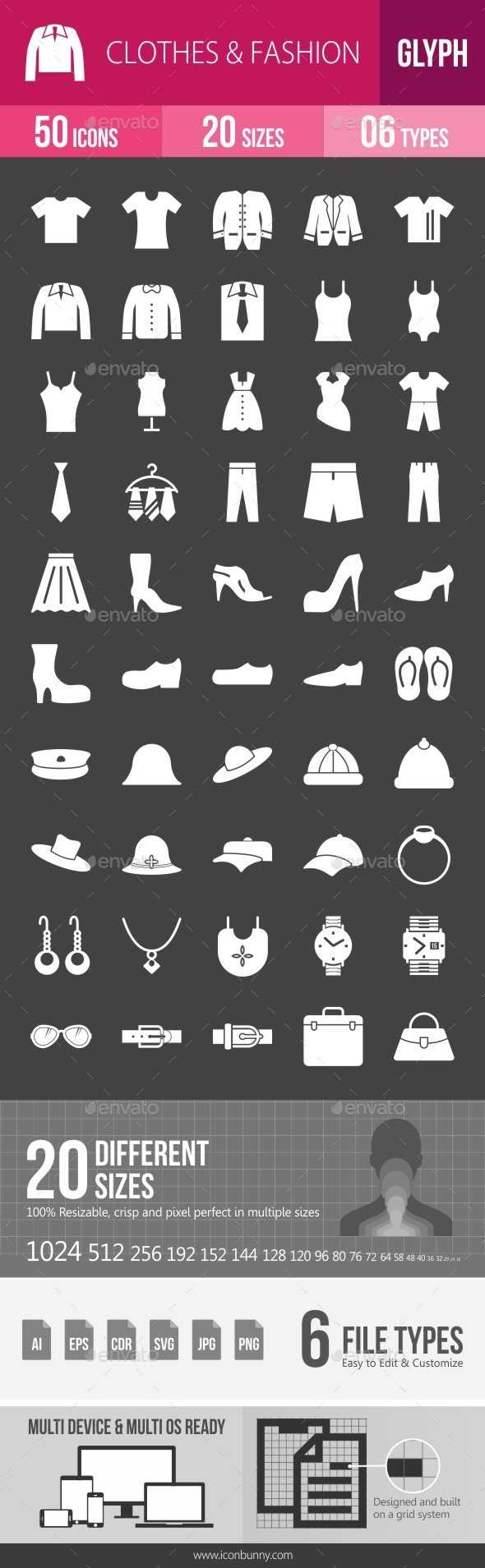 Clothes & Fashion Glyph Inverted Icons - Icons
