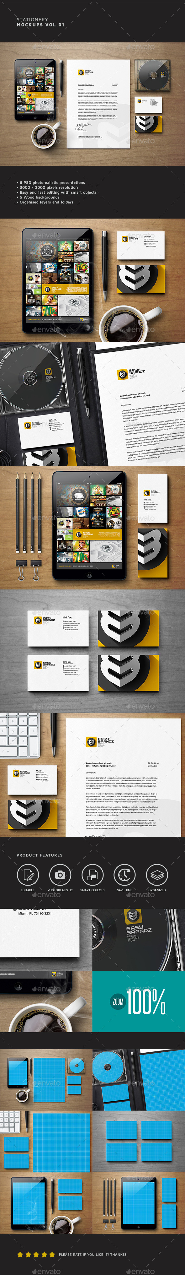 Stationery Mockups Vol.01 - Stationery Print