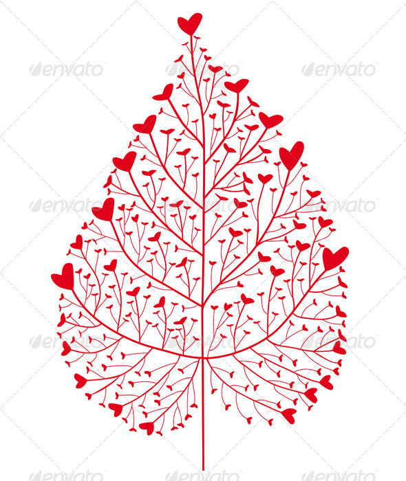 Red Heart Leaf - Valentines Seasons/Holidays