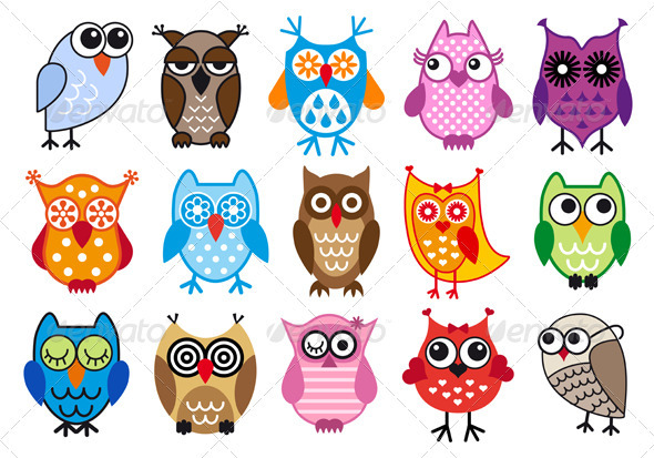 Vector Owl Set - Animals Characters