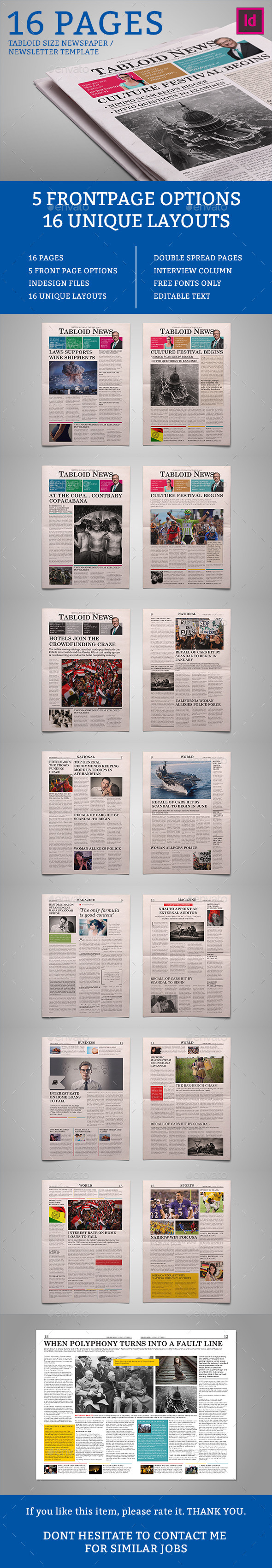 Tabloid News 16 Pages - Newsletters Print Templates
