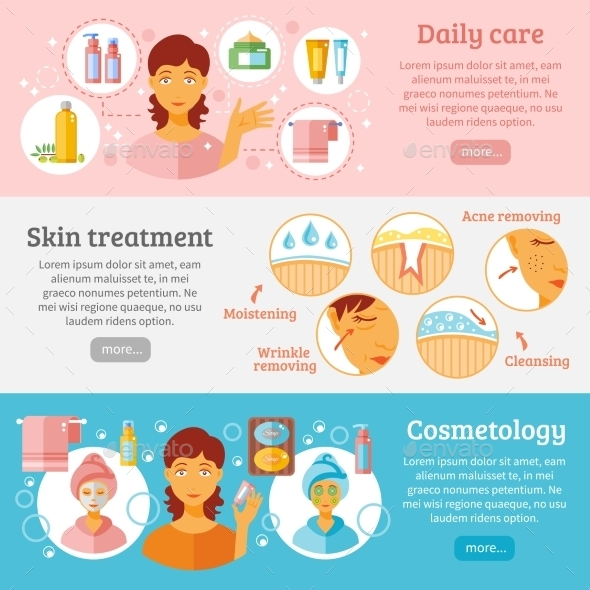 Skin Cosmetology Banners Set  - Health/Medicine Conceptual