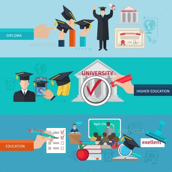 Higher Education Banner Set - Miscellaneous Vectors