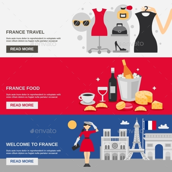 France Banner Set - Travel Conceptual