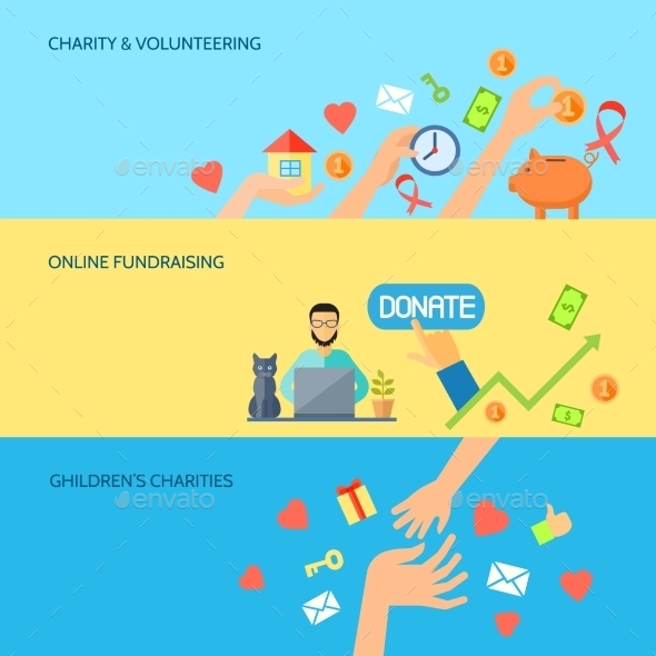 Giving Hands Horizontal Flat Banners Set - Miscellaneous Conceptual