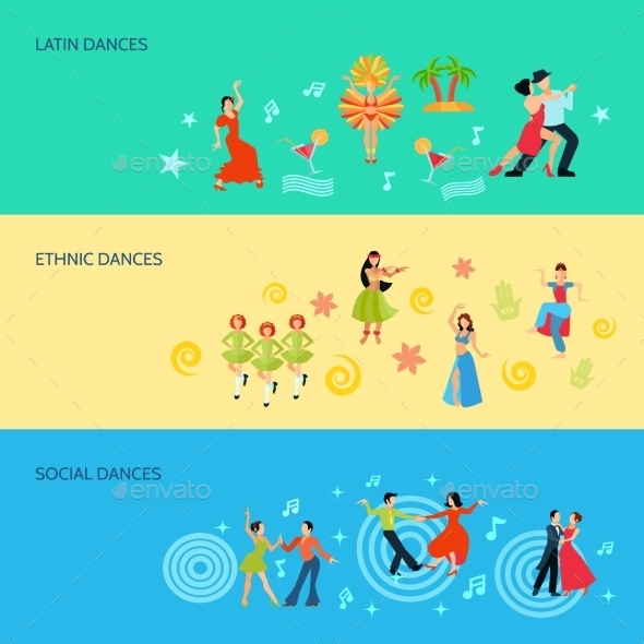 Horizontal Flat Dance Style Banners - Miscellaneous Vectors