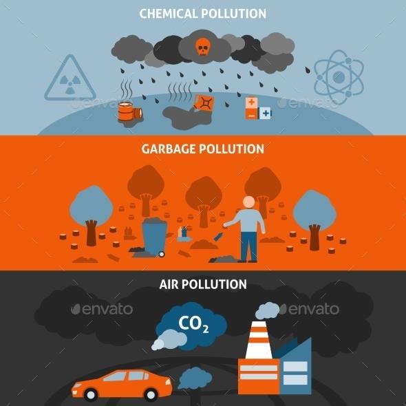 Pollution Banners Set - Nature Conceptual