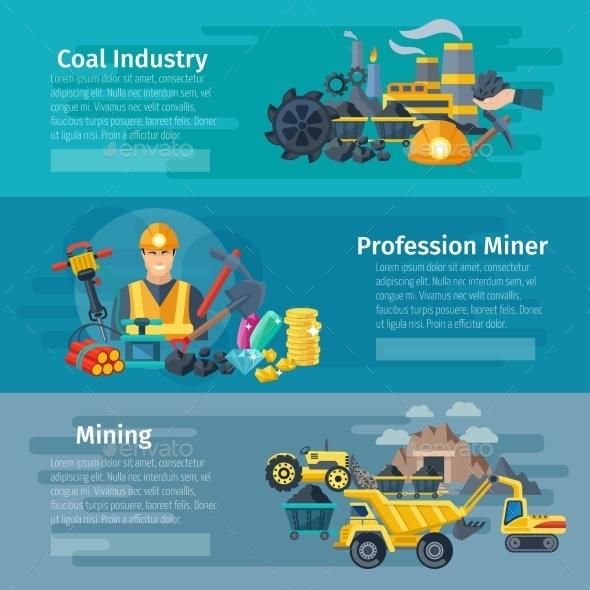 Mining Horizontal Banner Set - Conceptual Vectors