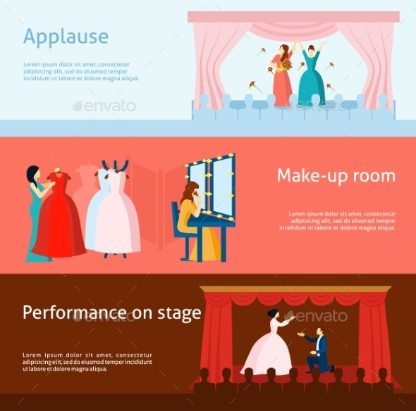 Theater Performance Flat Banners Set - Miscellaneous Vectors