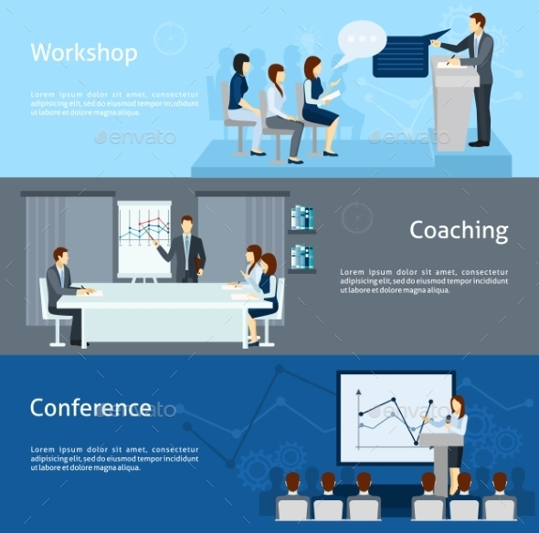 Public Speaking Flat Horizontal Banners Set  - Concepts Business