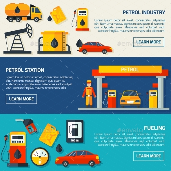 Gas Petrol Station Flat Banners Set  - Technology Conceptual