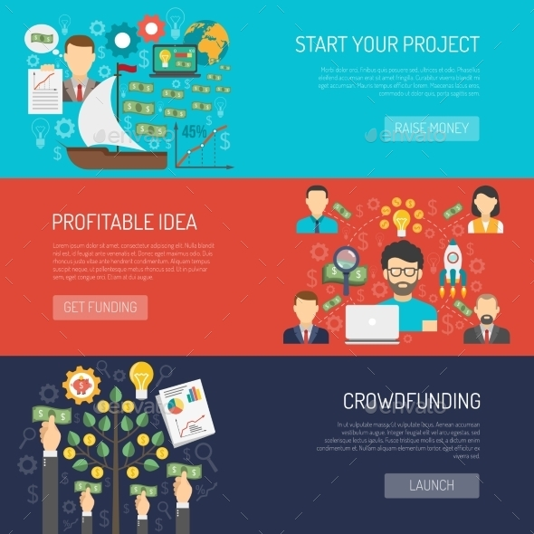 Crowdfunding Banner Set - Miscellaneous Vectors