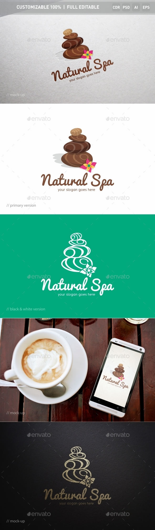 Natural Spa Logo Template - Objects Logo Templates
