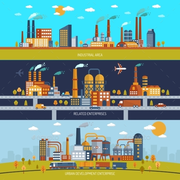 Factory Banner Set - Buildings Objects