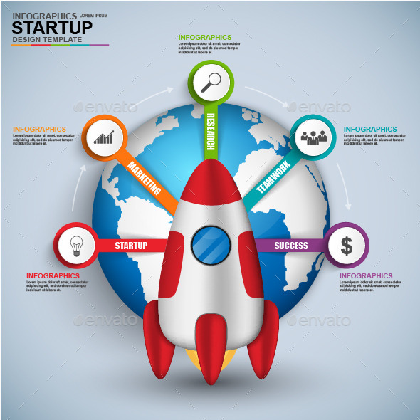 Abstract 3D Digital Business Startup Infographic - Infographics