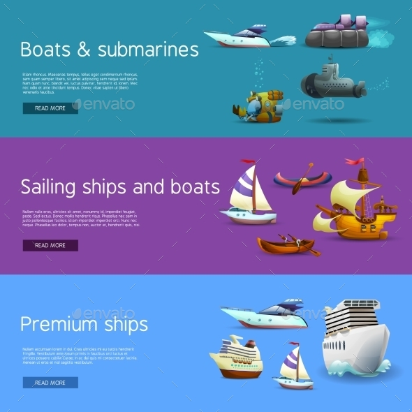 Ships And Boats Banners Set - Travel Conceptual