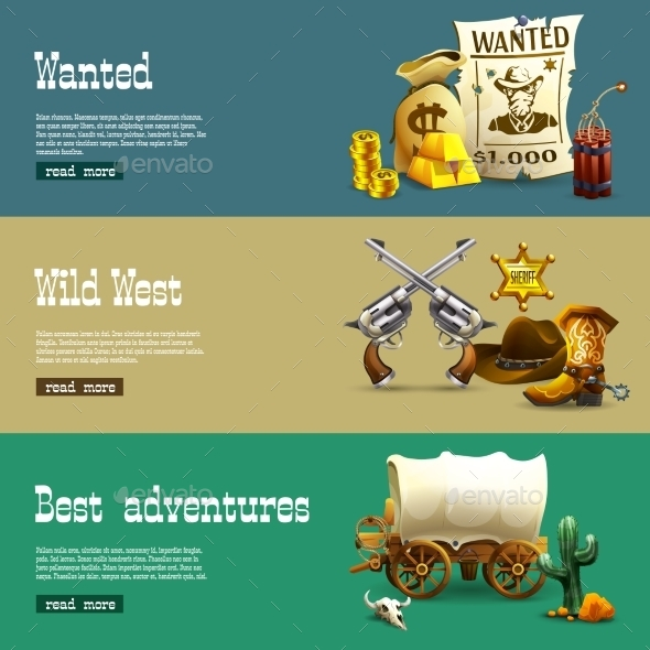Wild West Banners Set  - Travel Conceptual