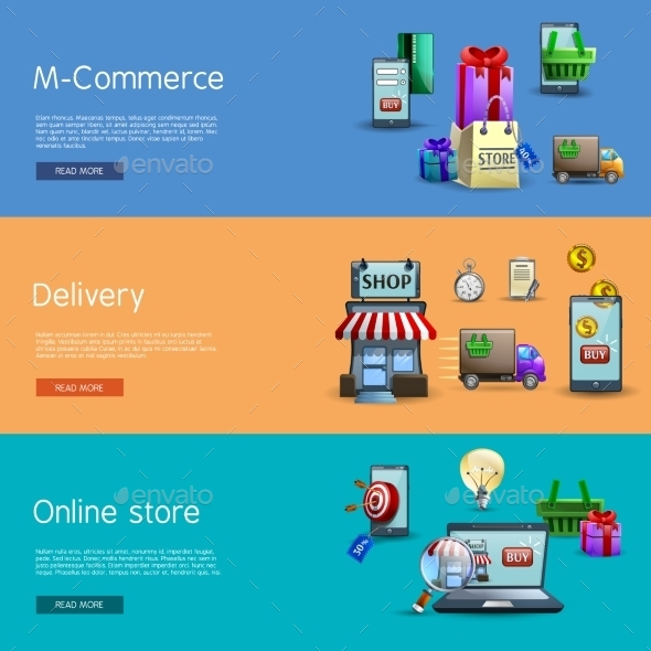 Online Shopping Banners Set - Retail Commercial / Shopping