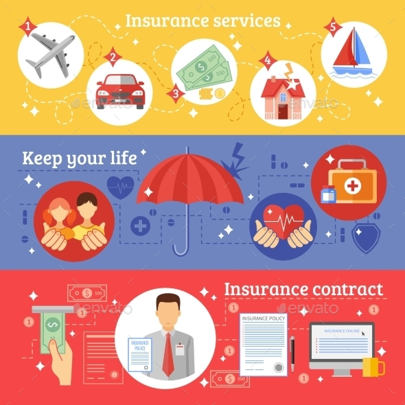 Insurance Banners Set  - Concepts Business
