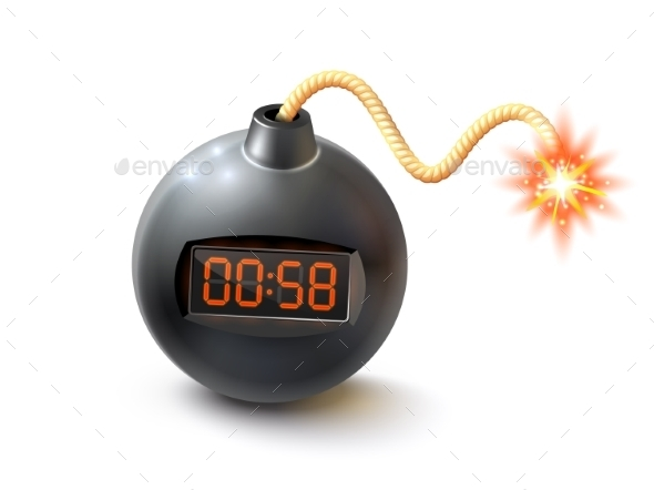 Bomb With Timer Illustration  - Man-made Objects Objects