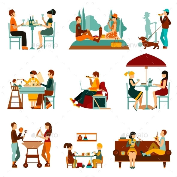 Eating People Icons Set - Food Objects