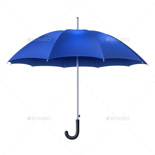 Realistic Blue Umbrella - Objects Vectors