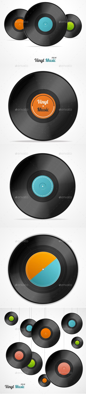 Vinyl Record Set. Vector - Objects Vectors