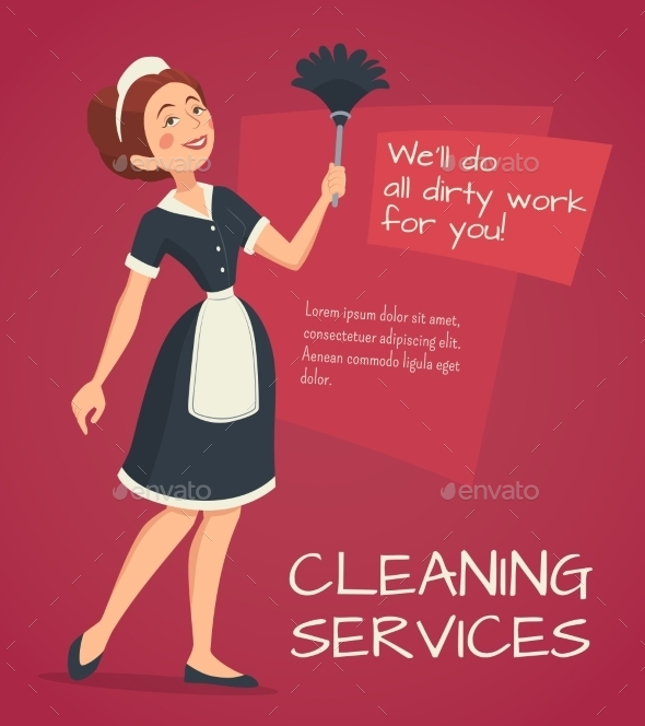 Cleaning Advertisement Illustration  - People Characters