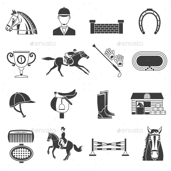Black Icons Set With Horse Equipment  - Animals Characters